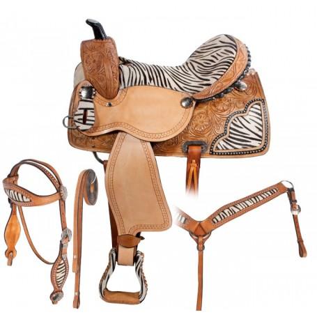 Zebra Hair on Hide Barrel Racing Western Horse Saddle 16