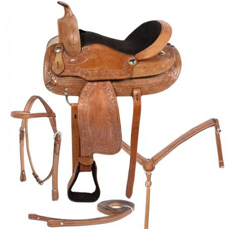 New Tan Western Pleasure Trail Horse Saddle 17