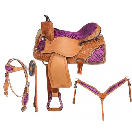 Purple Zebra Western Barrel Racing Horse Saddle 15 16