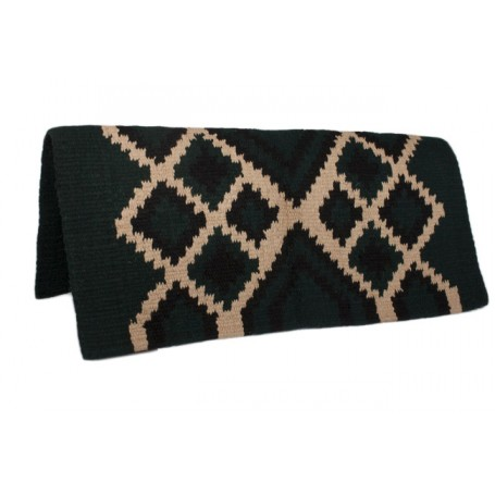 Dark Green Tan Design Show Saddle Blanket