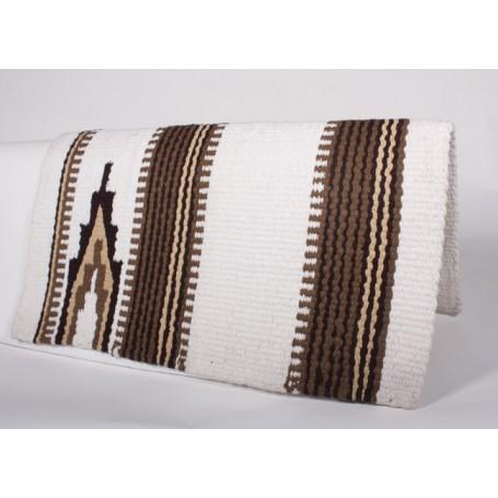 White W Brown Premium Wool Show Saddle Blanket