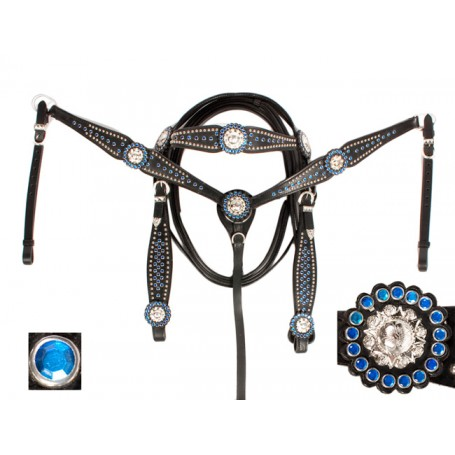 Sale Black Show Leather Headstall Reins Breast Collar Bling