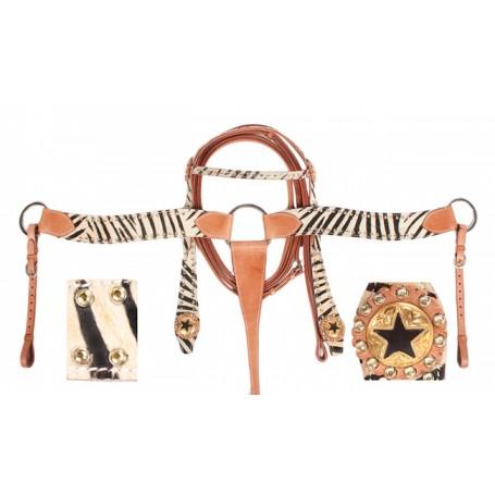 Western Zebra Headstall Reins Breast Collar Tack On Sale