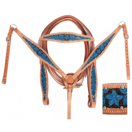 Hand Painted Blue Headstall Reins Breast Collar Tack Set On Sale