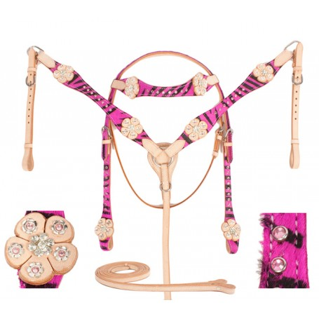 Pink Zebra Western Headstall Reins Tack Set On Sale
