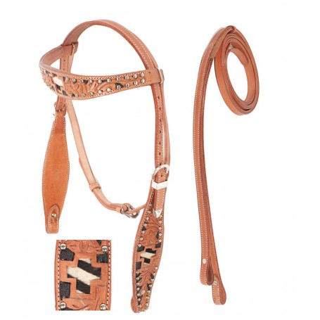 Cross Black Inlay Western Headstall Reins Tack Set