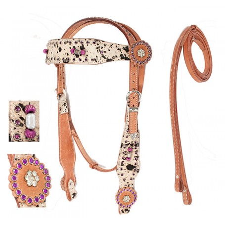 Hair On Hide Wild Purple Headstall Reins Tack Set