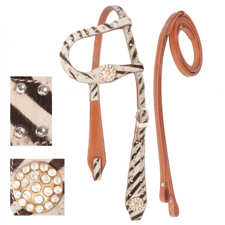 One Ear Leather Western Zebra Headstall Reins Tack Set
