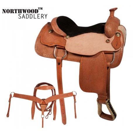 Western Pleasure Trail Ranch Horse Leather saddle 16 17