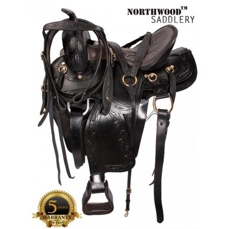Black Gaited Horse Western Leather Saddle 17