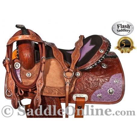 Flash Western Purple Ostrich Leather Barrel Saddle 15
