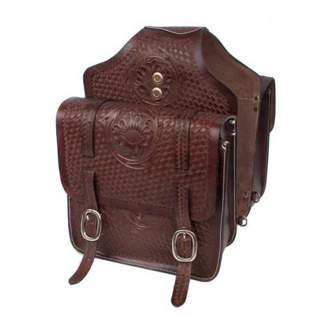 Large Western Tooled Leather Horse Saddle Bags