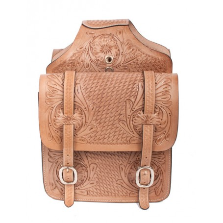 Extra Large Tan Carved Western Leather Horse Saddle Bags