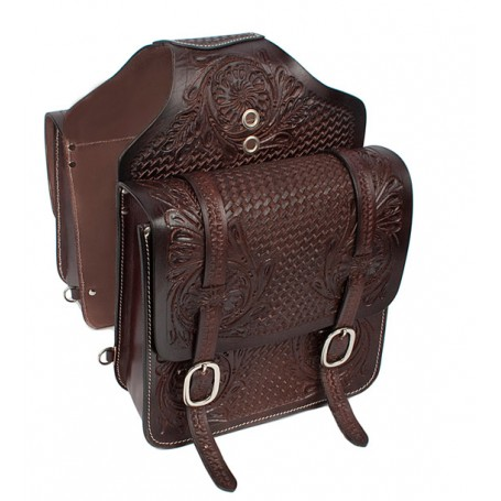 Extra Large Brown Carved Western Leather Horse Saddle Bags