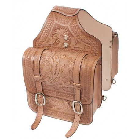 Big Western Leather Horse Saddle Bags Tan Color