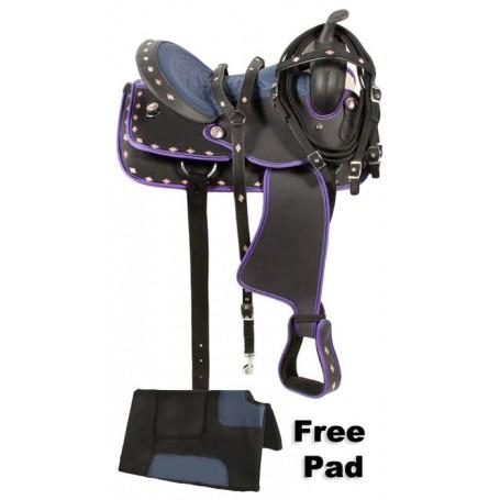 Purple Synthetic Western Horse Saddle Tack Pad 14 15