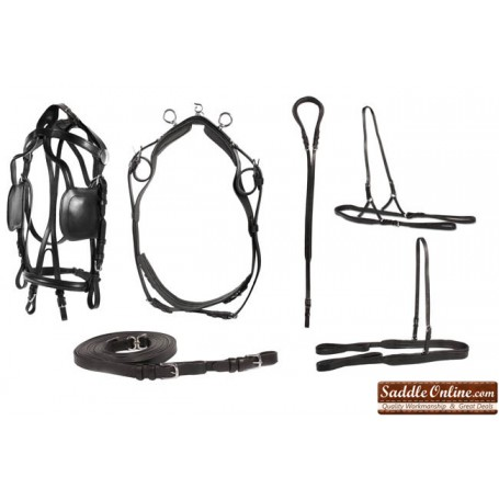New Deluxe Leather Western Horse Full Size Horse Driving Harness