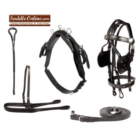 Black Leather Western Pleasure Horse Driving Harness for Cart