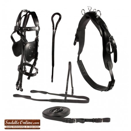 Premium Black Leather Pleasure Pony Driving Harness for Cart