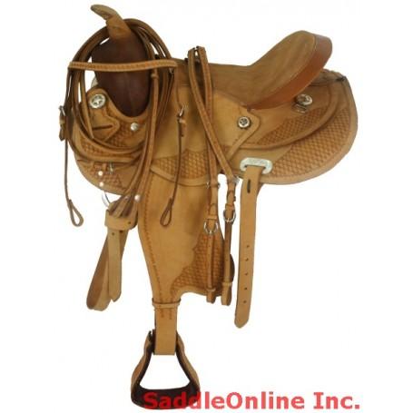 New Tooled 15 Tan Western Horse Pleasure Saddle