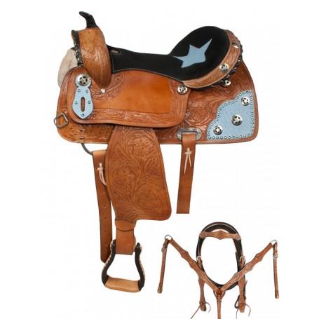 Blue Western Barrel Racing Horse Saddle Tack 15 16