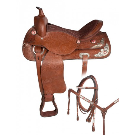 Brown Texas Star Western Horse Show Saddle 16 17
