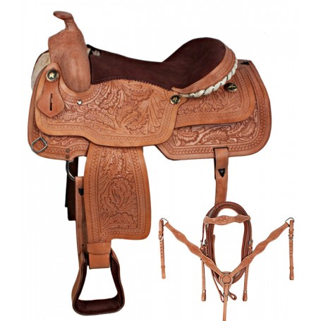 New Sale Natural Hand Carved Western Horse Saddle 17