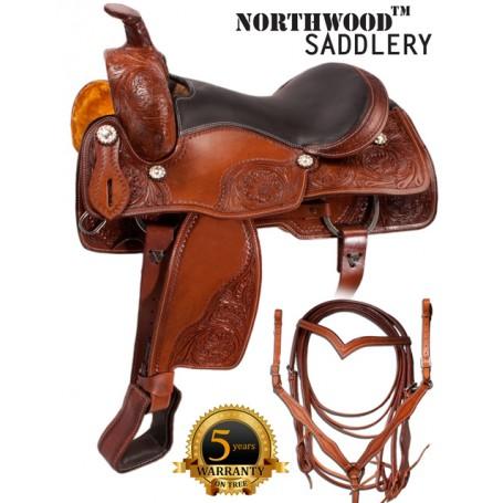 Western Pleasure Leather Horse Saddle Tack 17