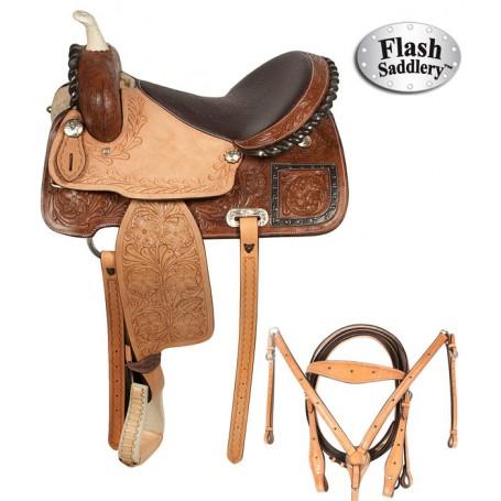 Premium Ostrich Western Barrel Saddle Hand Made 14 16