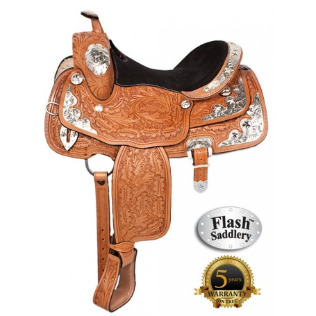 Flash Western Leather Silver Show Horse Saddle 15
