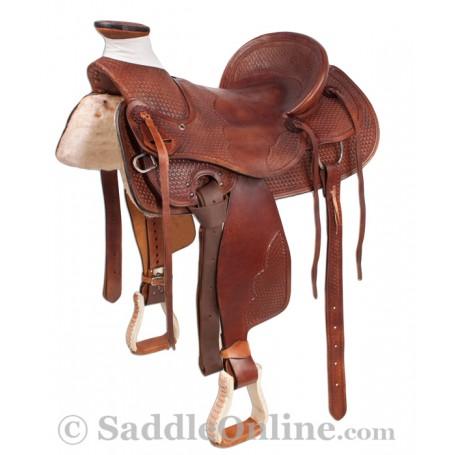 Brown Western Ranch Wade Tree Cowboy Saddle 16