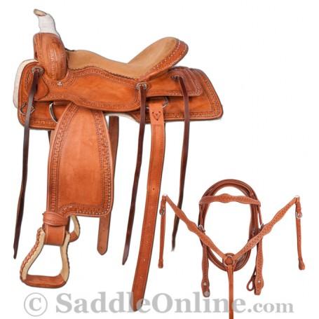 New Premium Ranch Pleasure Trail Horse Saddle 18