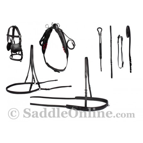 Black Complete Leather Driving Horse Harness Sale