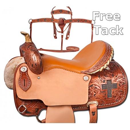 Cross Crystal Leather Barrel Saddle Bling Tack 16