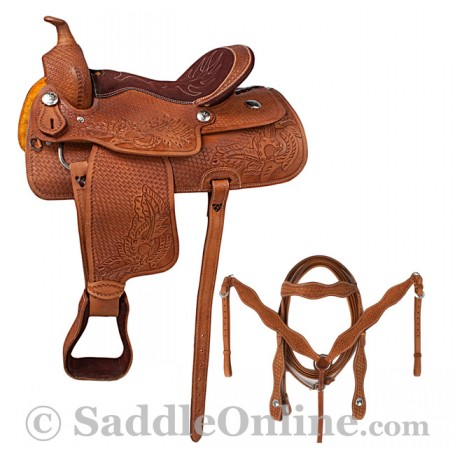 Western Leather Barrel Horse Saddle Sale Tack 14 15 16