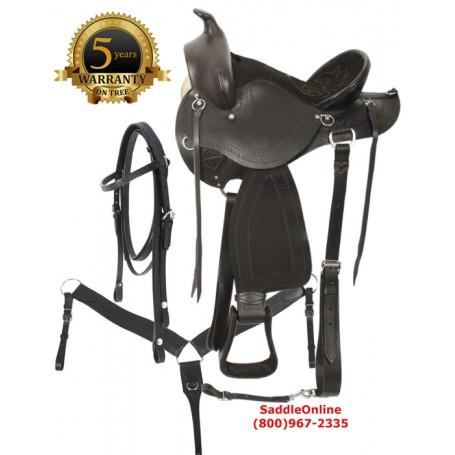 Black Western Leather Mule Saddle Mule Tack 15 18