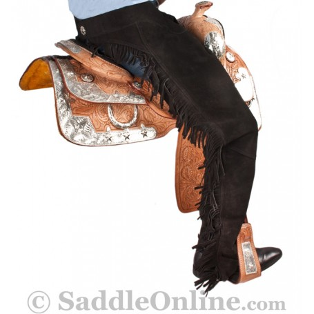 Western Horse Show Suede Leather Saddle Chaps S XL