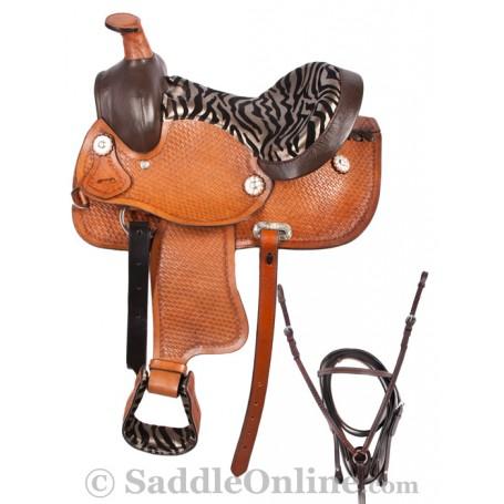 New Tan Zebra Western Pony Kids Saddle & Tack 12