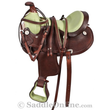 Western Pony Kids Child Brown Saddle Green Seat Tack 13