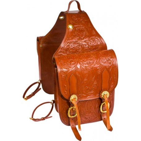 Extra Large Hand Carved Western Leather Horse Saddle Bags