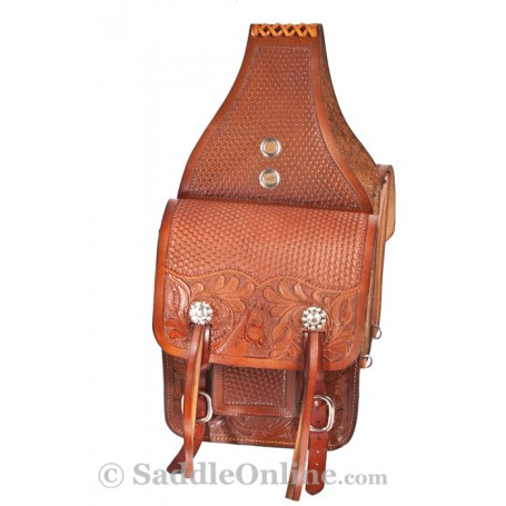 Extra Large Chestnut Western Horse Leather Saddle Bags