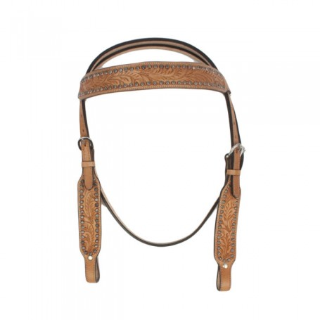 New Western Horse Antique Concho Leather Headstall Set