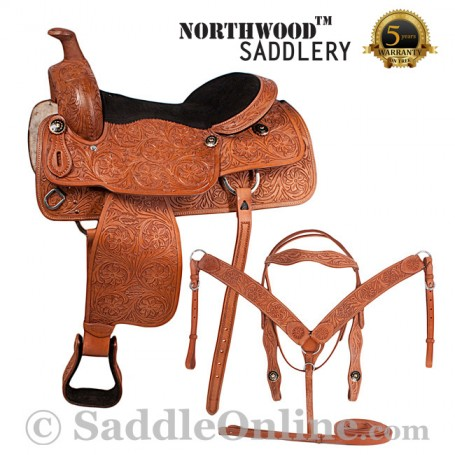 Texas Star Hand Carved Western Horse Saddle 17