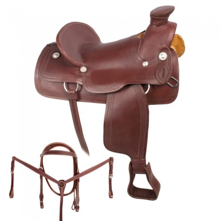 Western A Fork Pleasure Trail Horse Leather Saddle 18