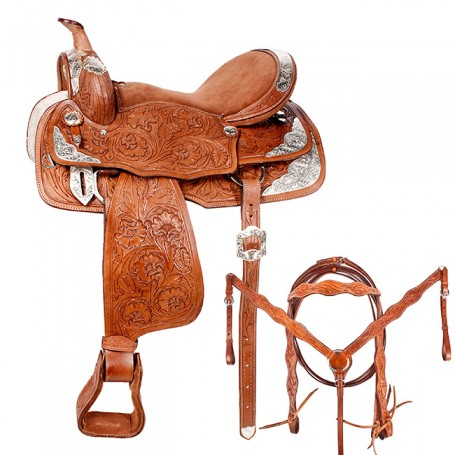 Western Tan Show Saddle Horse Leather Tack Set 15