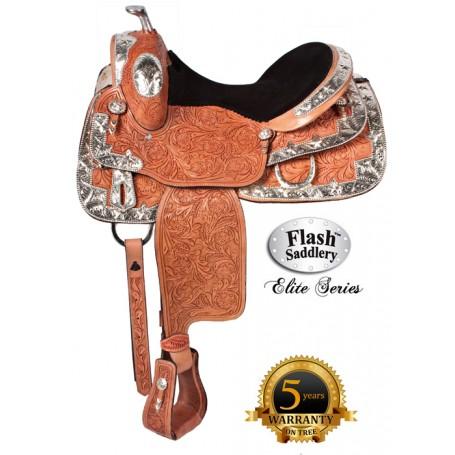 Western Horse Shine On Elite Show Saddle by Flash 16