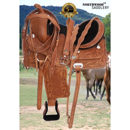 Comfy Hand Tooled Western Pleasure Trail Horse Saddle 16 18