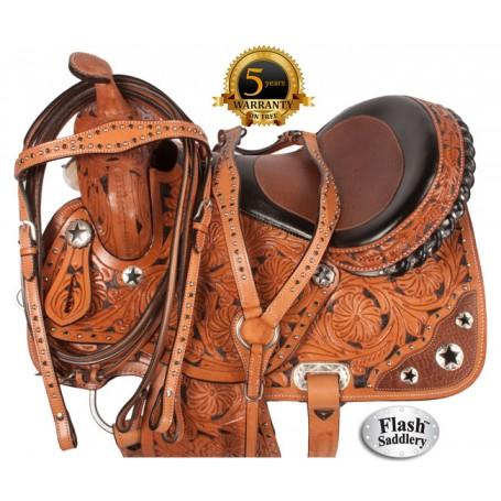Premium Western Hand Carved Barrel Saddle Inlay 15 16