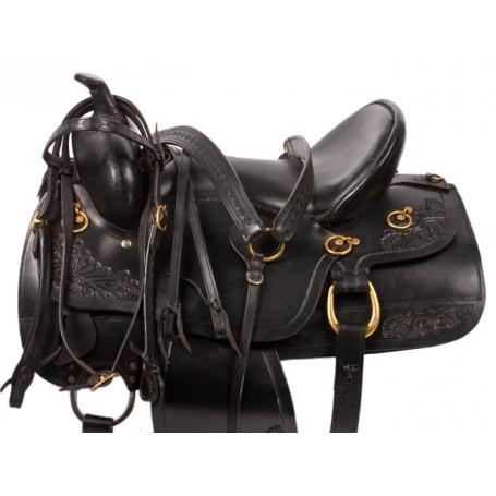 17 Comfy Padded Black Pleasure Trail Horse Saddle