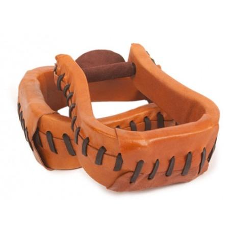 Tan Durable Western Leather Horse Saddle Stirrups